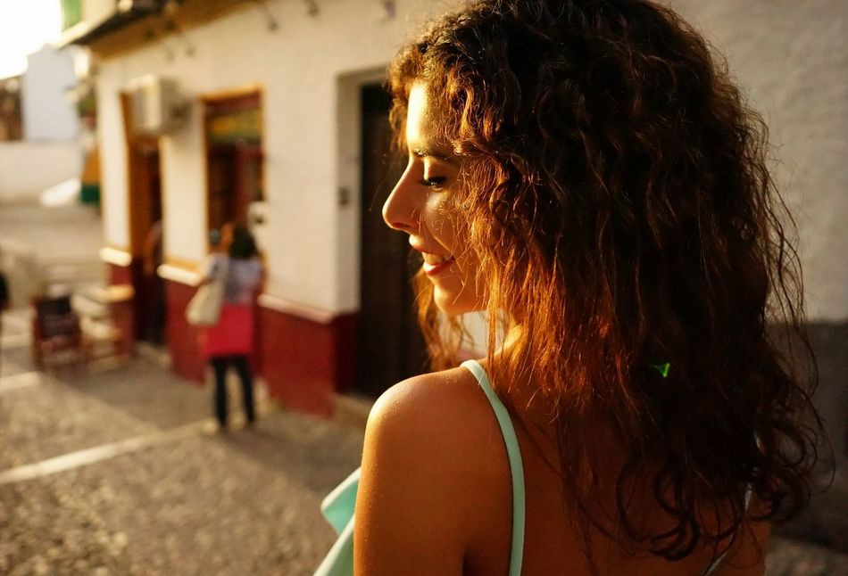 Beautiful Curly Hair Day EyeEmNewHere Girl Headshot Lifestyles Portait Skin Sunlight Women Smile Charm Travel Travel Destinations Brunette Women Around The World Portugal