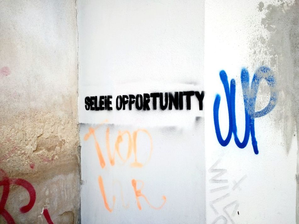Text No People Communication Textured  Graffiti Wall Dirtyoldtown Urbanexploration Street Photography Urban Photography Textures And Surfaces City Life Outdoors Close-up Spray Paint Tagging Wall Colour Image Aerosol Graffiti Stencil Selfıe Selfie Time Mispelling Mistake Error