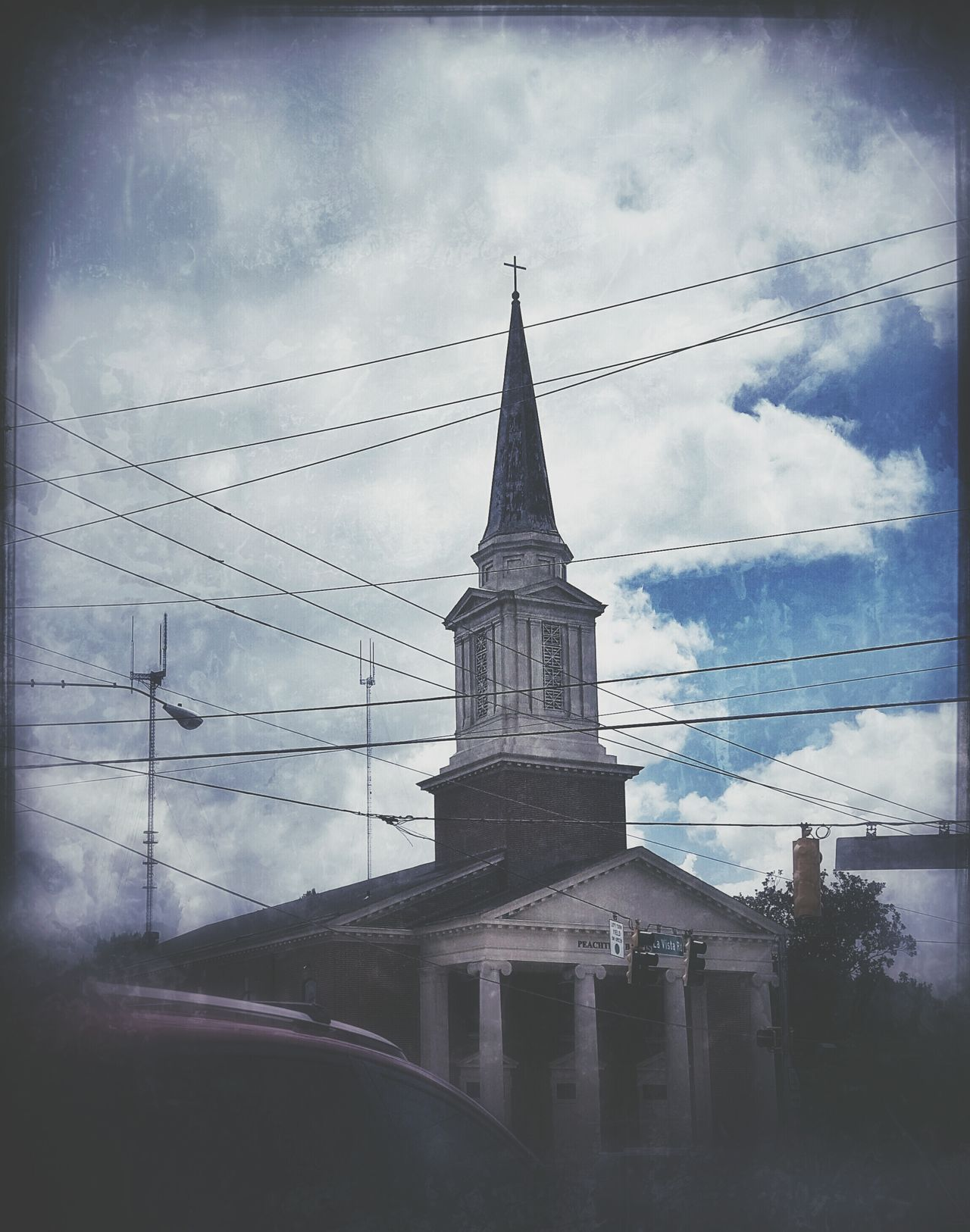 Church Atlanta Georgia Snapseed Summer Sky And Clouds Visual Pollution Wires And Cables Wires In The Sky