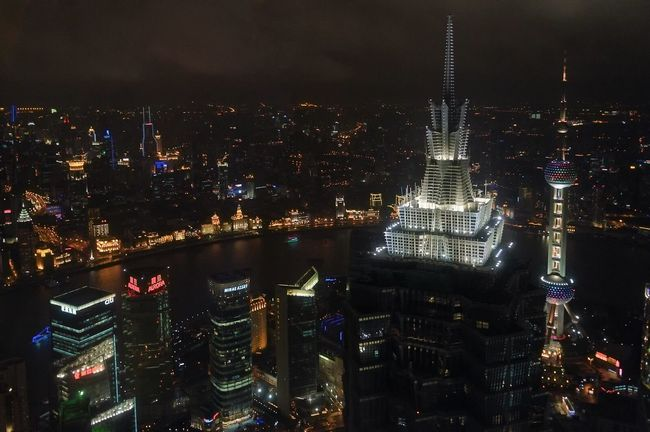 Aerial view of Shanghai, China. City Night Architecture Illuminated Cityscape Building Exterior Skyscraper Aerial View Tower Travel Destinations Urban Skyline Modern Financial District  Built Structure Outdoors No People Sky Downtown District Horizontal Shanghai Shanghai, China