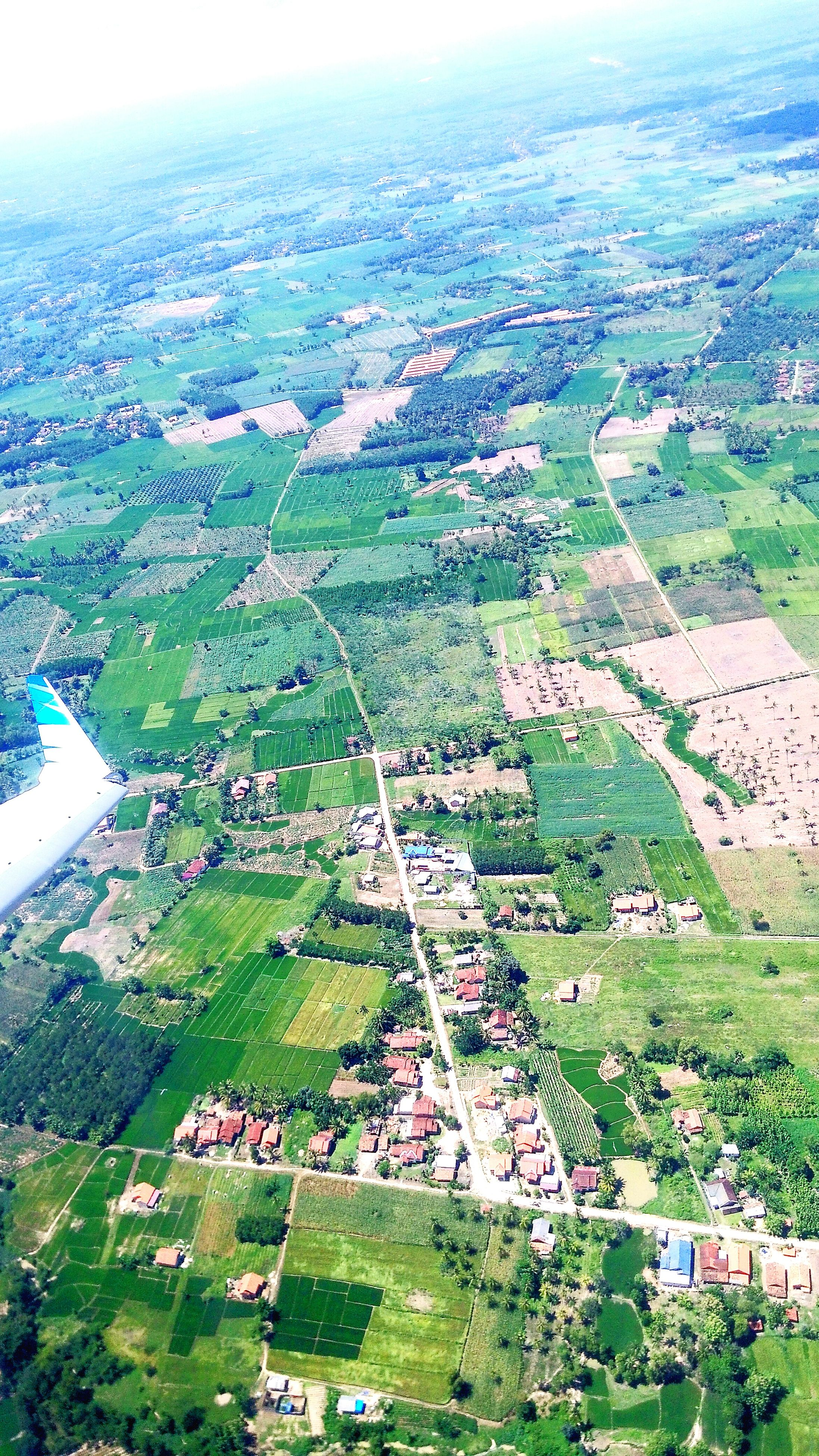 landscape, high angle view, field, aerial view, grass, building exterior, rural scene, green color, agriculture, architecture, built structure, farm, scenics, nature, tree, house, beauty in nature, tranquil scene, tranquility, day
