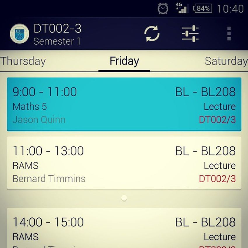 This is class!!! College app to show my timetable in one click... Very handy Dit College App Timetable easy