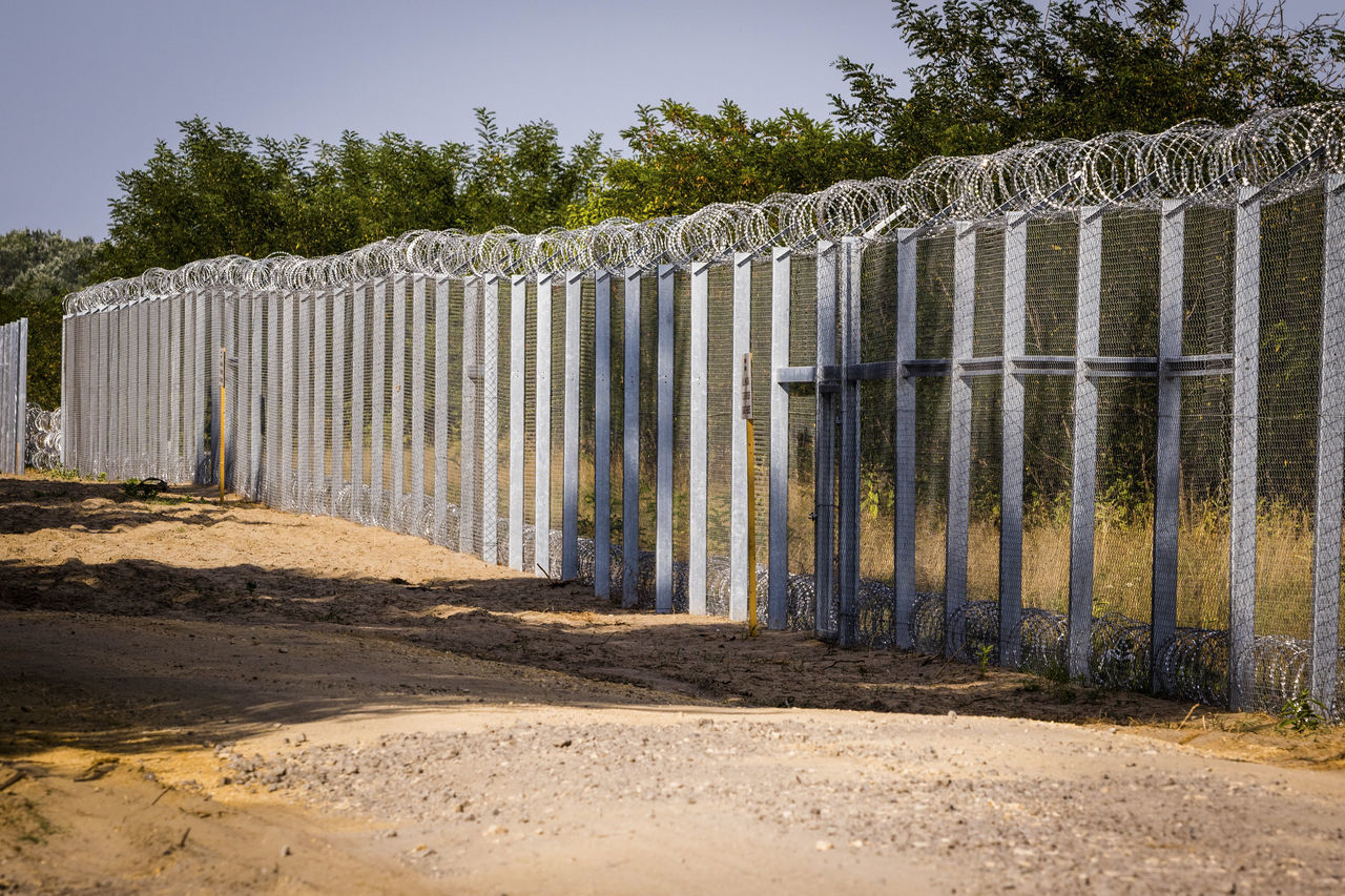 Firewall against illegal immigrants and refugees on the border between Hungary and Serbia Barbed Wire Barbed Wire Fence Border Borderline Fence Firewall Frontier Frontière No People State Border