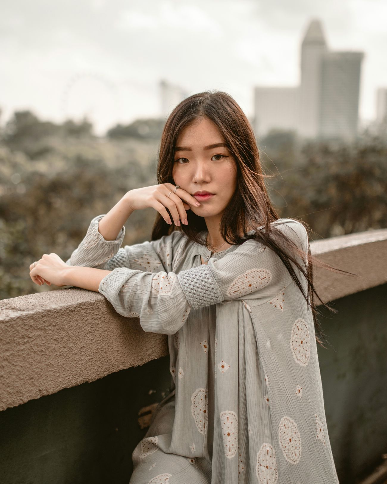 some days are gold Beautiful People Women Of EyeEm Portrait Of A Woman Portrait Of A Girl One Woman Only Portrait Photography Portrait Roof Top Singapore Beautiful Woman Outdoors Natural Light Portrait Wind In Hair Wind In Her Hair Lonely