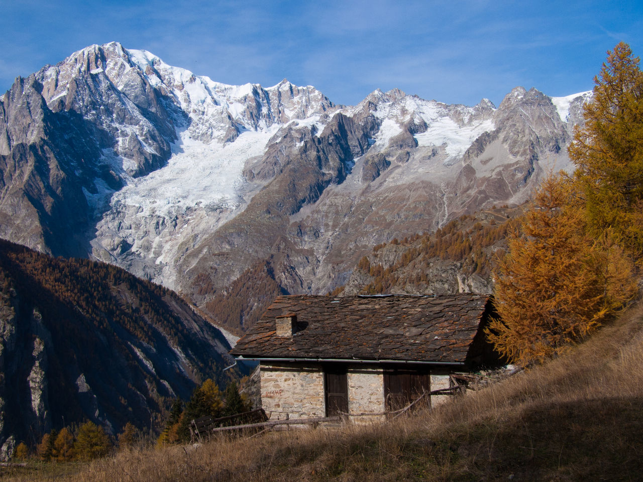 mountain, mountain range, scenics, nature, no people, day, built structure, beauty in nature, outdoors, landscape, architecture, snow, building exterior, sky, tree