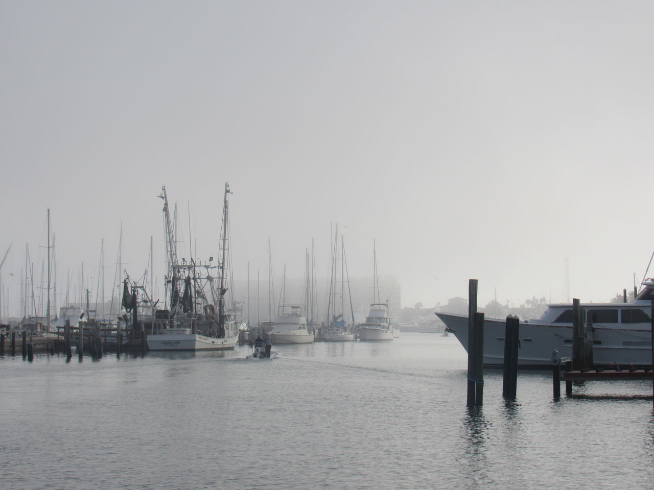 Beauty In Nature Day Foggy Day Harbor Mast Mode Of Transport Moored Nature Nautical Vessel No People Outdoors Sailboat Sea Sky Transportation Water Waterfront White Sky