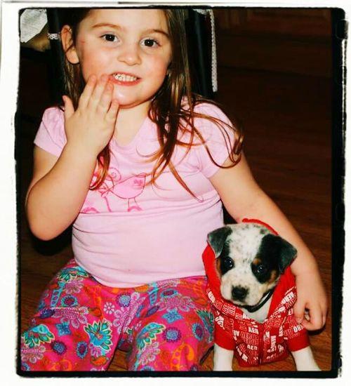 Child Dog Girls Childhood Pets Portrait Animal Domestic Animals Indoors  Happiness Puppy Love Puppyinsweatshirt