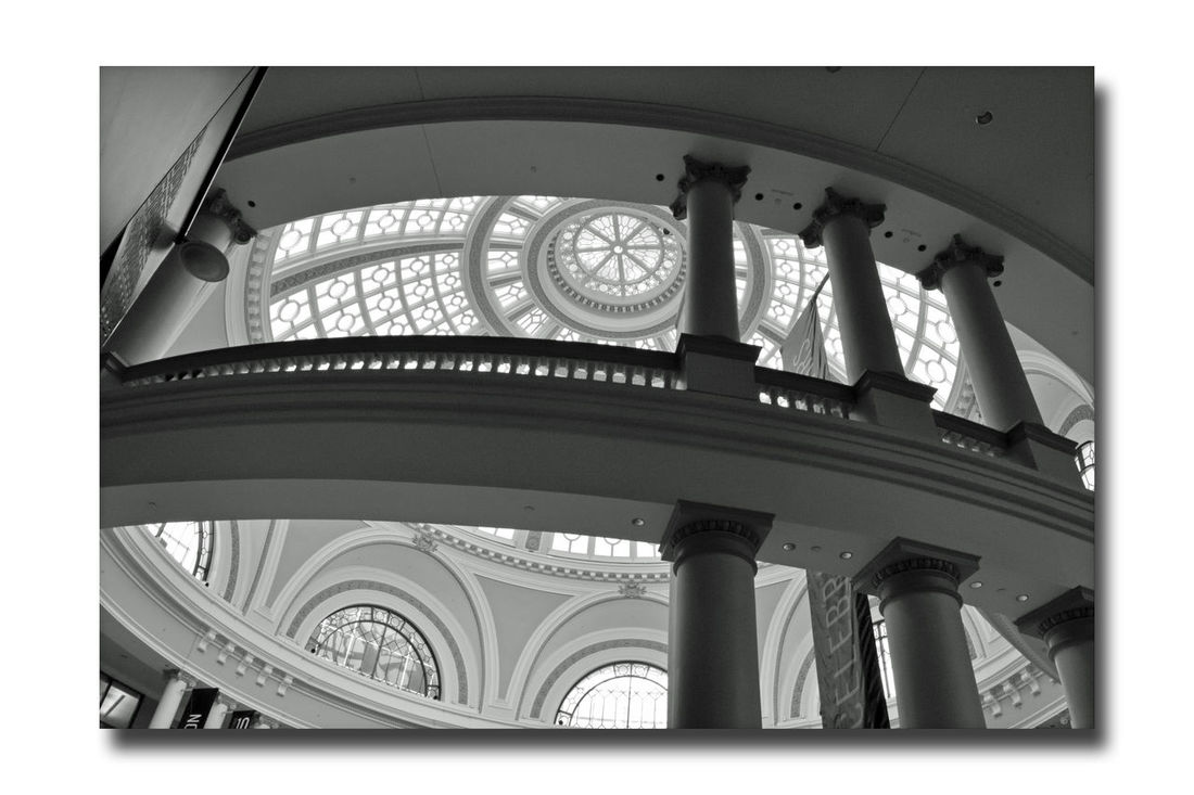 The Dome @ Westfield San Francisco Centre 4 Bmw_friday_eyeemchallenge Ambient Light Natural Light Architect: Albert Pississ 1908 Parrott Building The Dome The Old Emporium Architecture Style: Classicism Western Tradition Historic Skylit Dome 102ft Architectural Detail Columns Arched Windows Low Angle View Monochrome Photograhy Monochrome Black & White Black & White Photography Black And White Black And White Photography Handrail  Silhouettes Pattern Pieces
