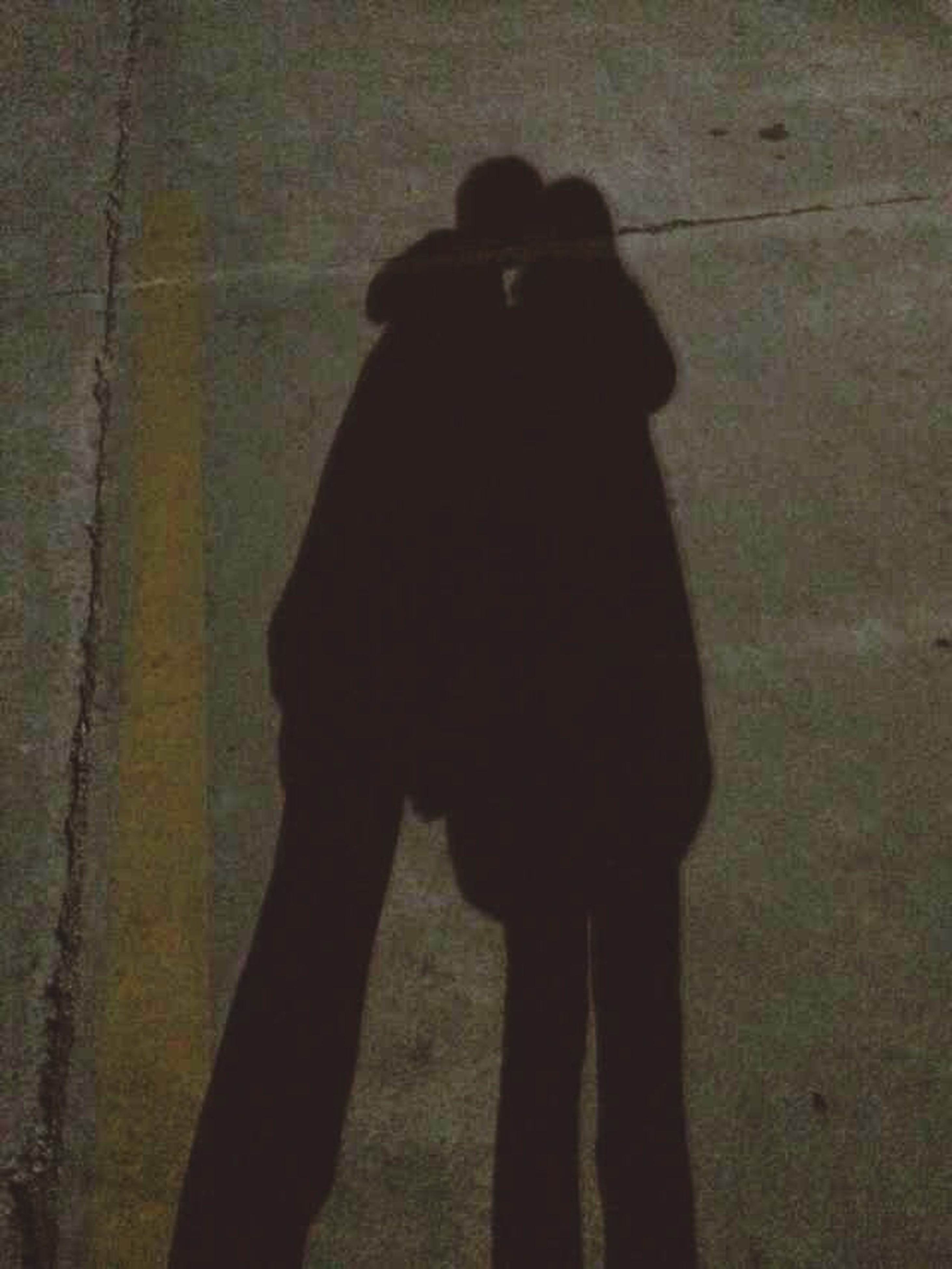 silhouette, shadow, standing, lifestyles, three quarter length, men, rear view, focus on shadow, leisure activity, sunlight, indoors, outline, person, full length, night, dark, wall - building feature, side view