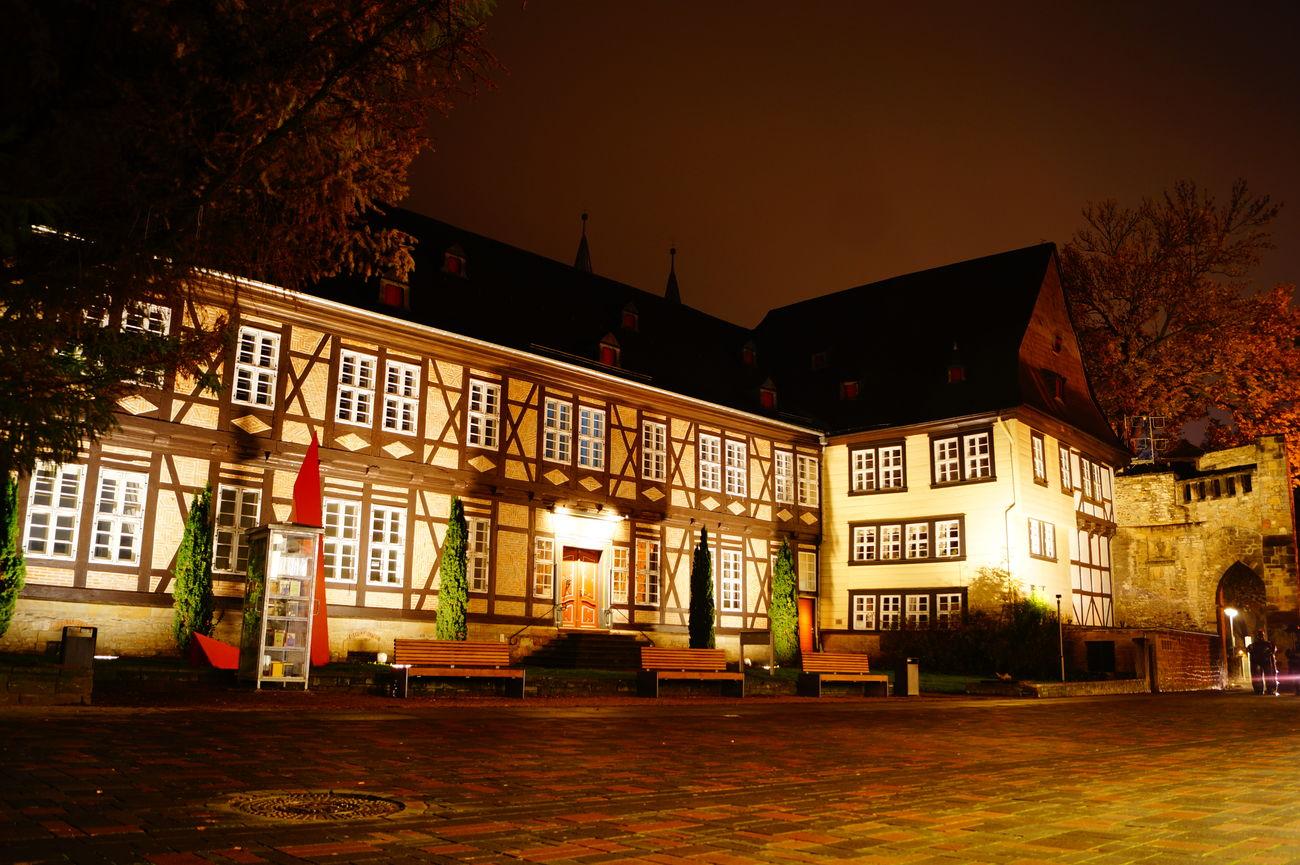 Architecture Beleuchtung City Fachwerk Fachwerkhaus Goslar Langzeitbelichtung Leuchten Night No People Street Goslar