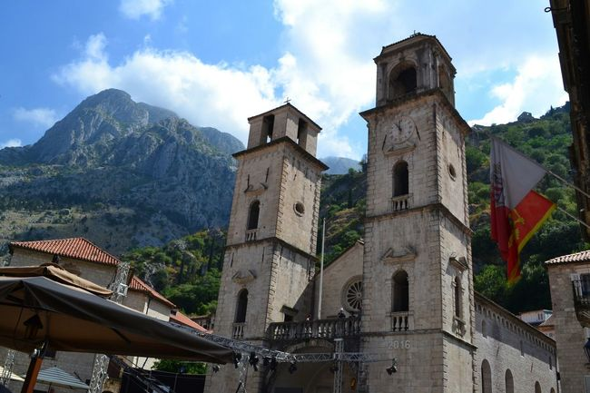 Church in the mountain Kotor Cattaro Montenegro Church Mountains Architecture Nature Sky Towerbell Flag Flags Travel Traveling