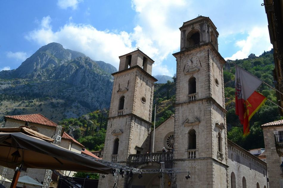 Church in the mountain Kotor Cattaro Montenegro Church Mountains Architecture Nature Sky Towerbell Flag Flags Travel Traveling My Year My View