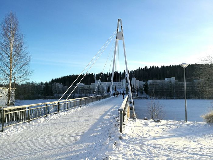 Just a nice picture. Snow Outdoors Sky Nature Day Cold Temperature Winter Lake Bridge Blue Blue Sky Nice Day First Eyeem Photo