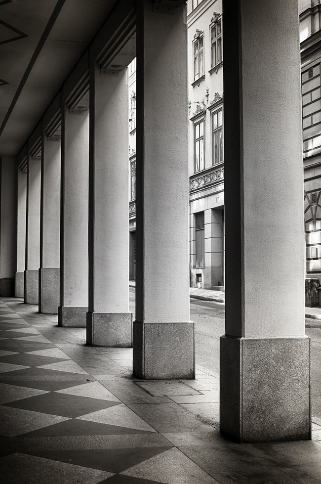 Symmetrical pattern of pillars in black and white. Absence Architectural Column Architectural Feature Architecture Blackandwhite Building Built Structure Column Corridor Day Diminishing Perspective Elegant Empty Façade Flooring Monochromatic No People Old Pattern Pillars Repetition Street Symmetrical The Way Forward