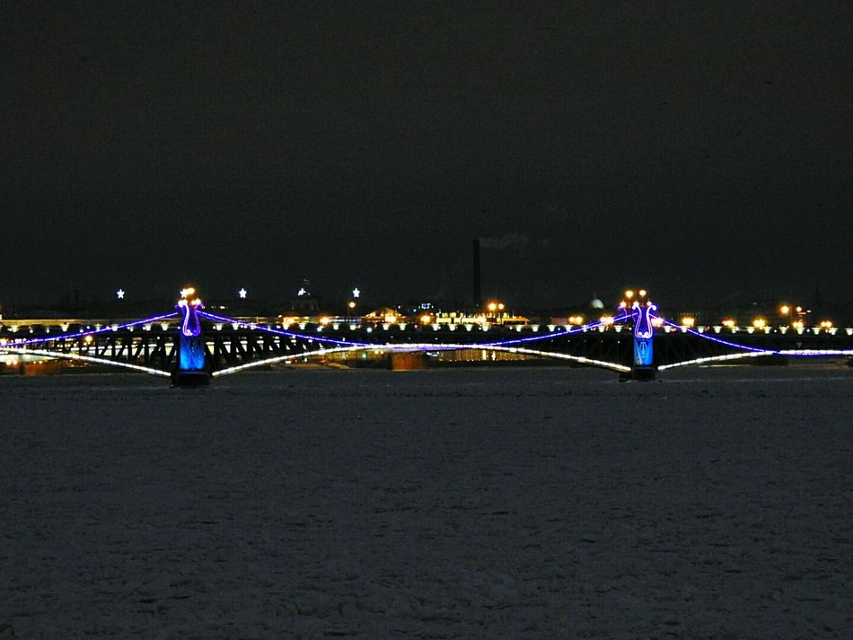 Troickii Bridge Night Illuminated Bridge Neva In Ice Sky Architecture Travel Destinations Cityscape City Winter Wonderland Streetphotography December 2016 Winter Architecture Colors Of Sankt-Peterburg Sankt-Petersburg Russia