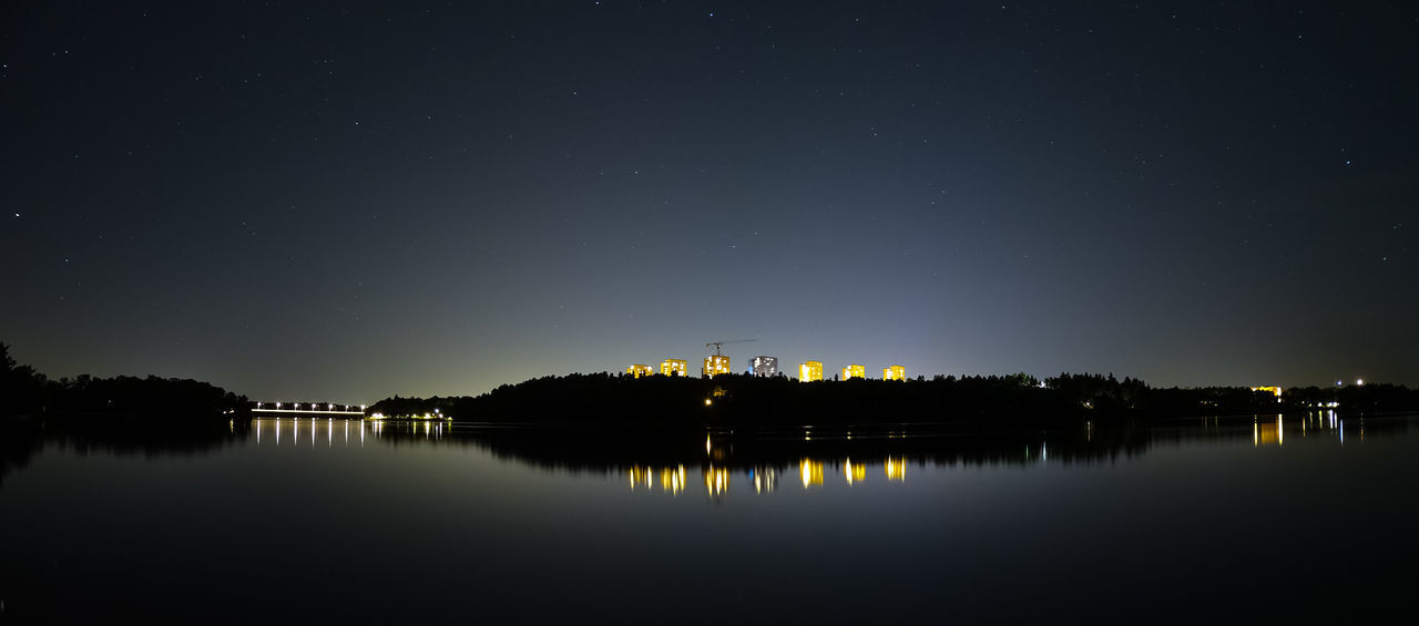 Beauty In Nature Clear Sky Dark Dark Sky Lake Lakeshore Light Reflection Lights Nature Nature Photography Night Outdoors Panorama Reflection Scenics Sky Water Wideangle Stars Starry Night