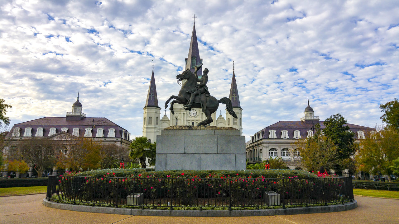 Jackson Square, New Orleans, United States Architecture Building Exterior Built Structure City Cloud Cloud - Sky Cloudy Day Façade Grass Green Color Growth Jackson Square Lawn Louisiana New Orleans No People Outdoors Place Of Worship Plant Sky Tourism Travel Destinations Tree United States