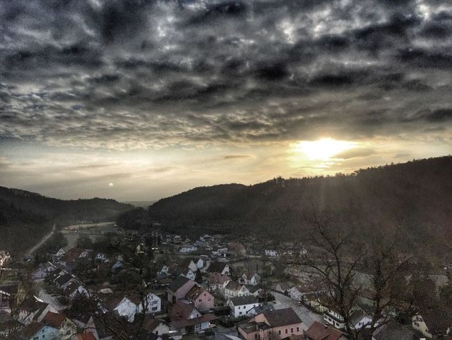 Todays view. Sun and moon in one shot. Bavaria Landscape Sunrise