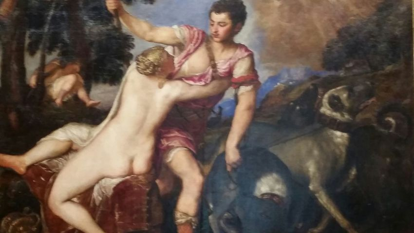 Adonis ignoring Venus's plea to stay with her, instead he goes off to hunt and is killed....this piece is in the Stubborn Men thru the Ages collection