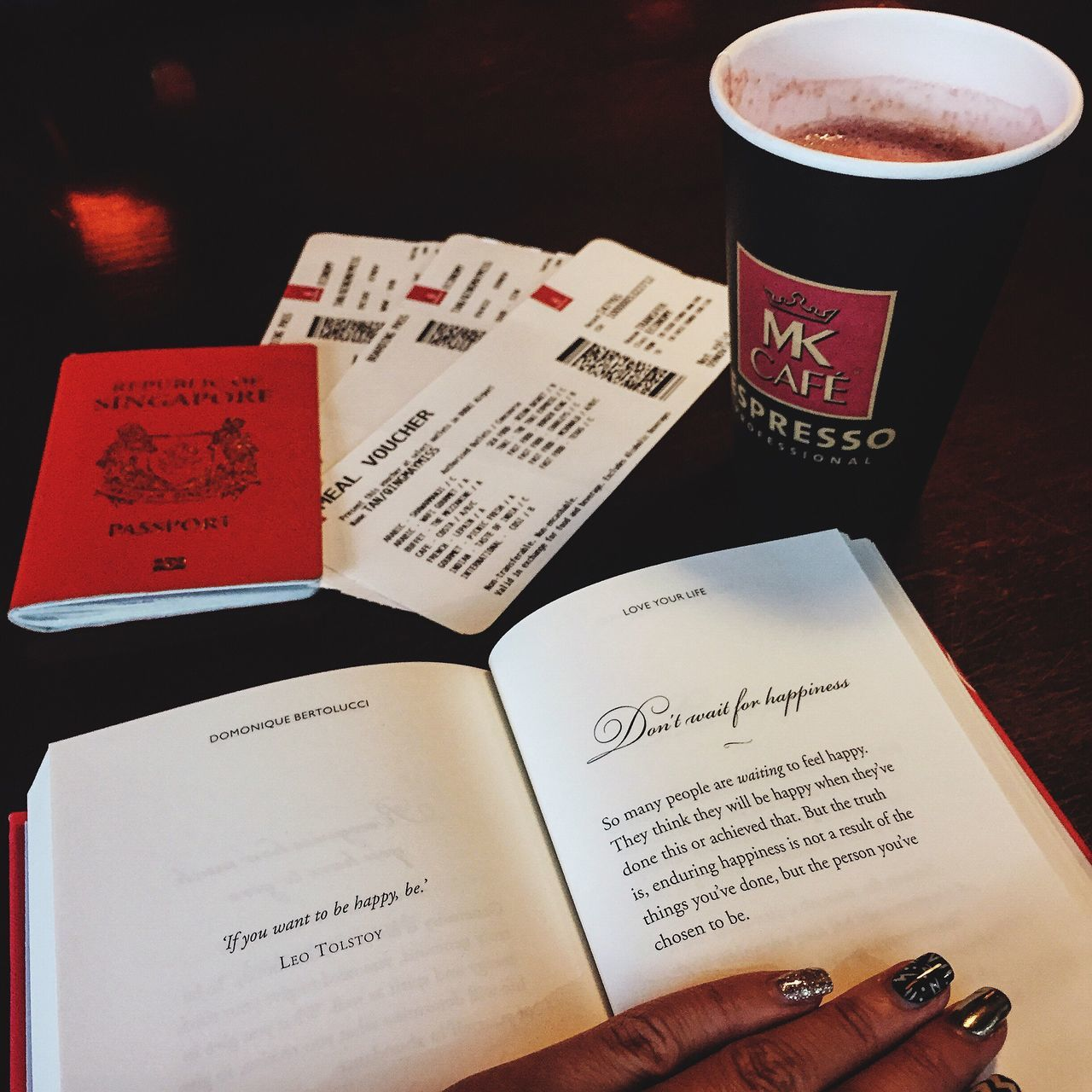 Traveling. Text Communication Indoors  Real People Table Paper Close-up One Person Human Hand Day Airport Airport Waiting Tickets Plane Ticket Passport Coffee Coffee Time Book Flatlay Travel Traveling At The Airport Waiting Breakfast