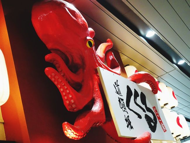 Big octopus Red No People Day Still Life Street Photography Enjoying Life Check This Out EymEmPhoto Modern Abstract Fine Art Japan Sign Board Octopus Takoyaki IPhone 6s