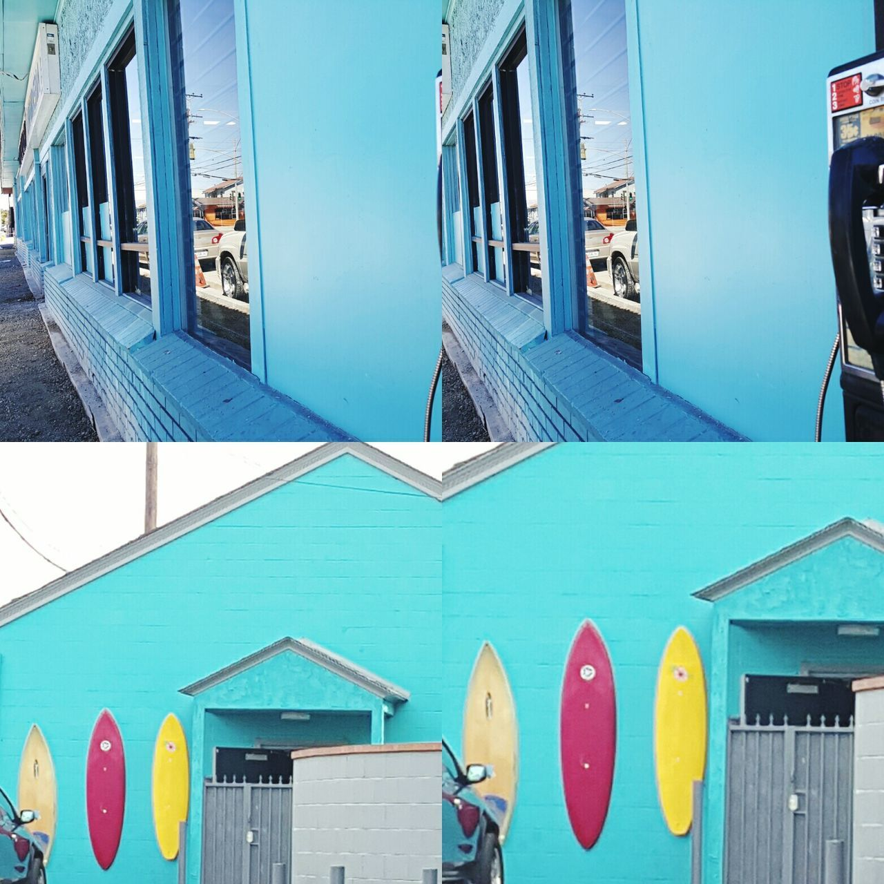 The Color Of Technology Blue Teal Surfboards Payphone Building Exterior Multi Colored Interesting Pictures Vibrant Color Full Frame Outdoors Sky Modern Geometric Shape City Life Off The Beaten Path No People Scenics Zcheezephotoz Beach Life Multiple Image Digital Darkroom Unique Perspective Colorphotography Streetphoto Live For The Story The Architect - 2017 EyeEm Awards