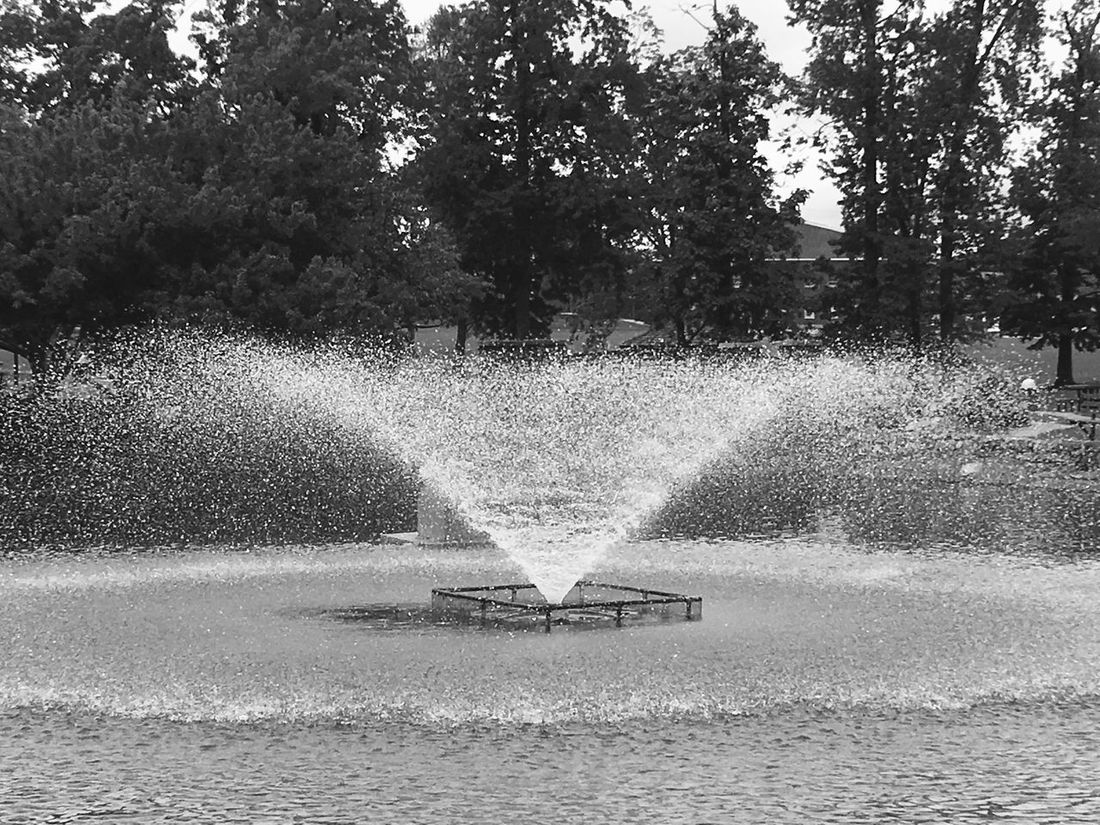 Fountain Waterdrops Outdoors Can you hear and feel the serenity of the water as it hits the pond? Black & White Photography