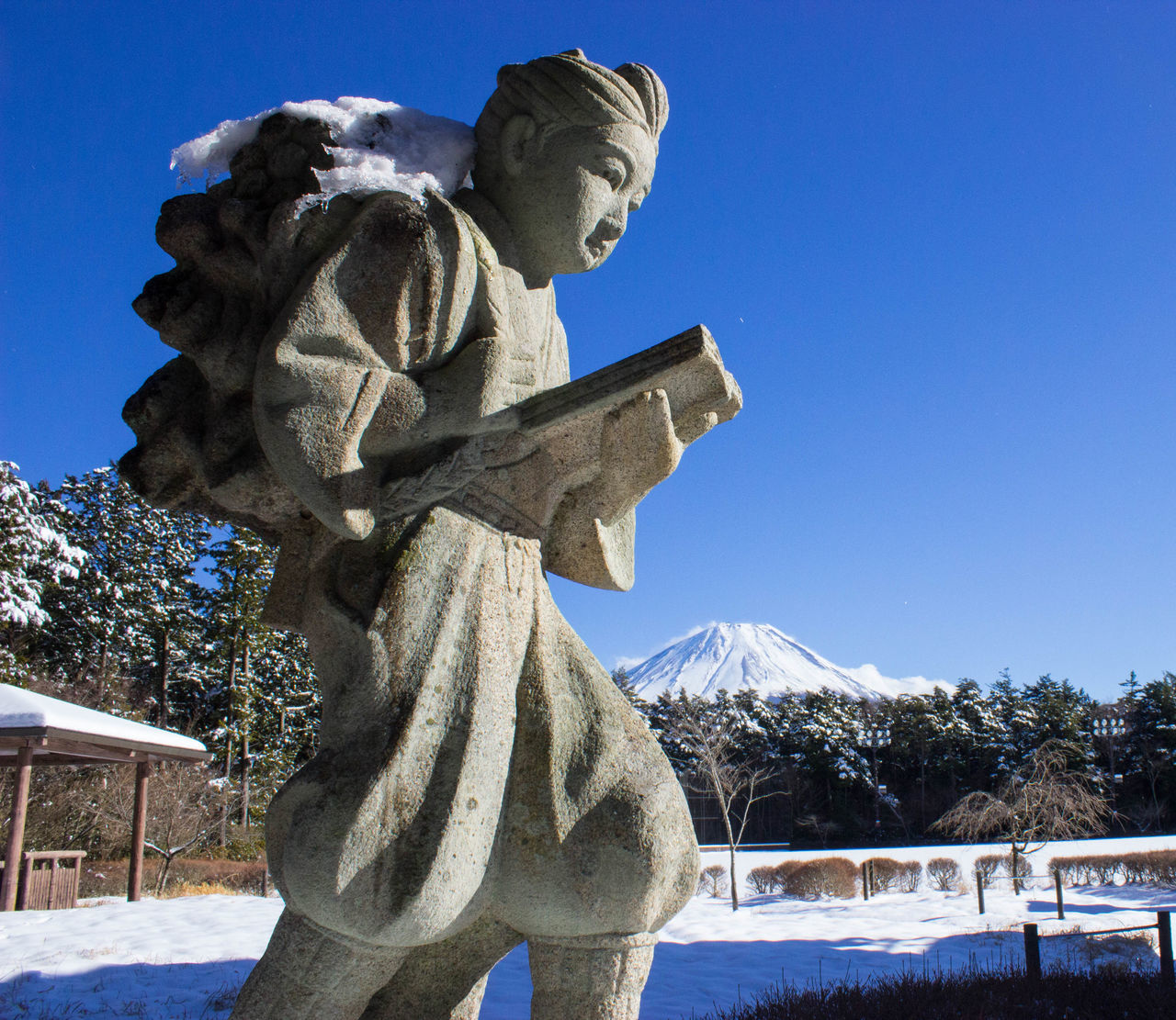 Low Angle View Of Stone Sculpture With Snow Against Sky