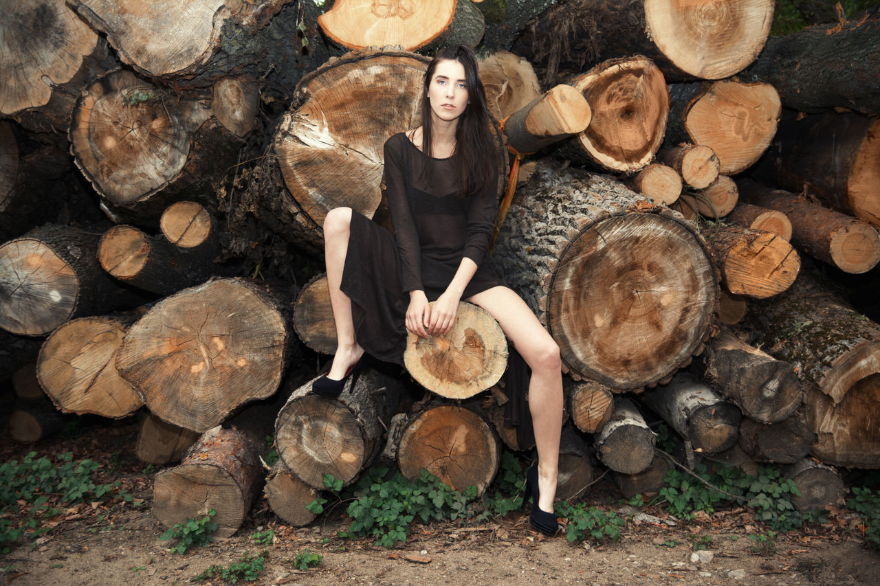 Slow Dancing Society Brown Brunette Female Forest Girl Legs Linas Was Here Logs Lumberjack Model Trees Woman Wood