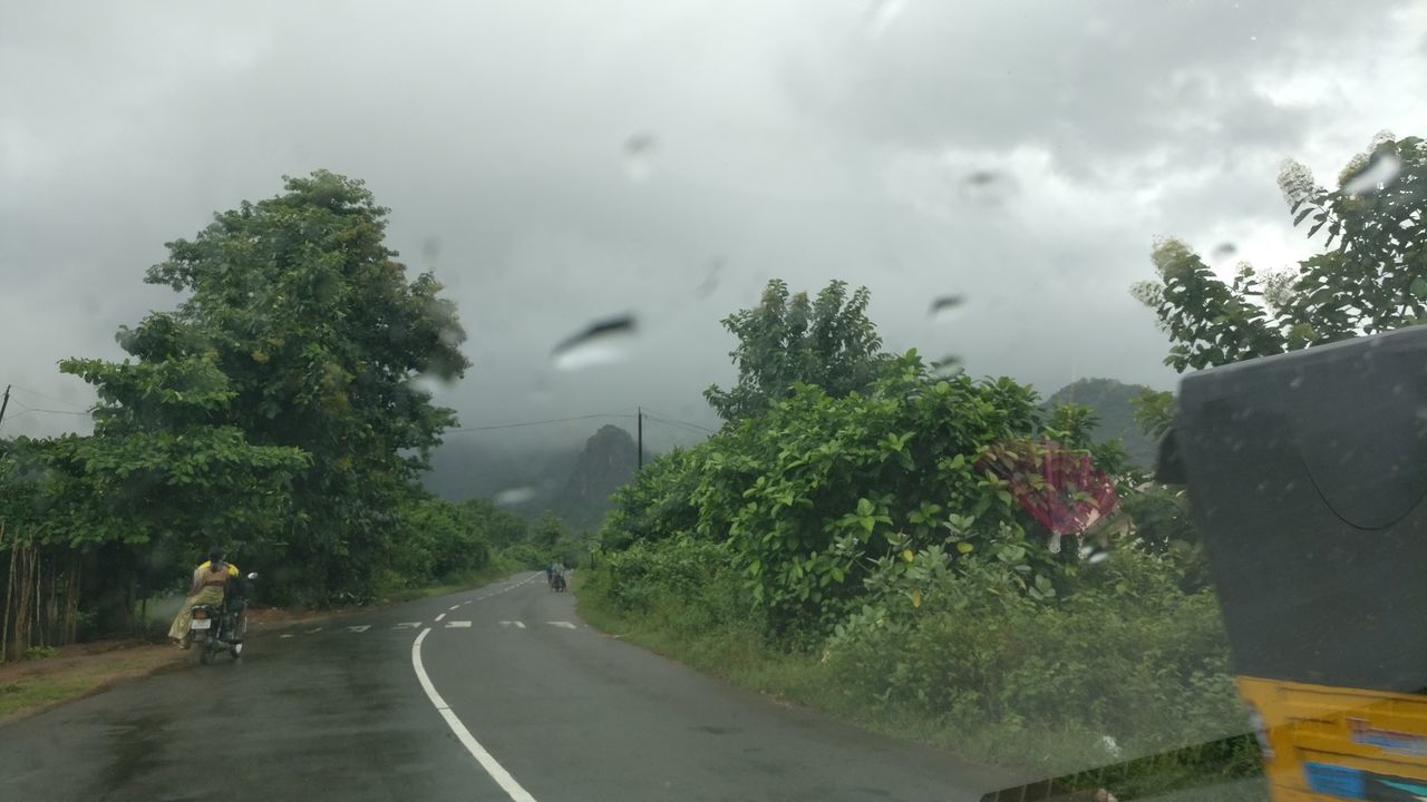 sky, cloud - sky, road, weather, tree, transportation, day, nature, outdoors, no people, thunderstorm