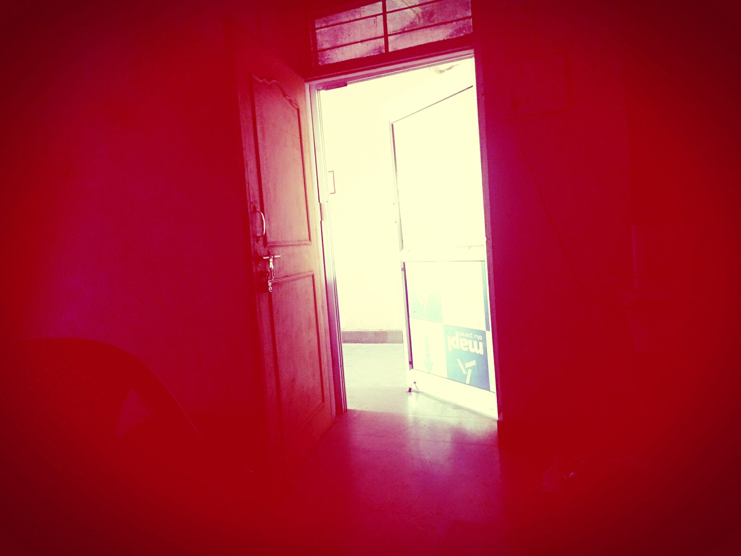 indoors, window, curtain, home interior, architecture, glass - material, built structure, transparent, door, absence, red, empty, house, sunlight, open, corridor, chair, domestic room, day, no people
