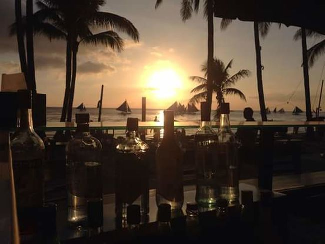 Summer paradise Sunset Scenery Taking Photos Sun Rays Seascape Bar Liqueur at Boracay Philippines