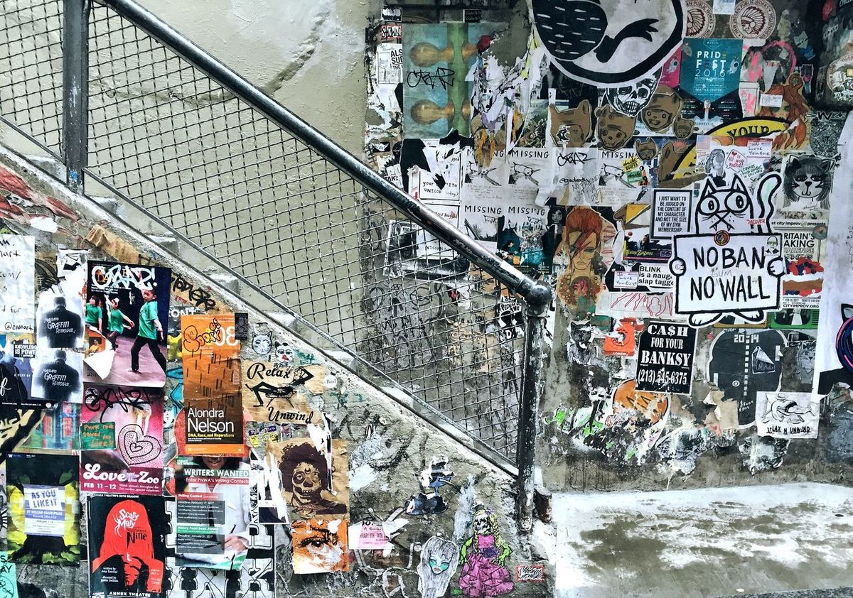 Graffiti Creativity Architecture Lifestyles Multi Colored Text Day Outdoors People Seattle Stairs Staircase Art ArtWork Art Is Everywhere EyeEm Best Shots Patterns Colorful Backgrounds No People Handrail  Fence Link Chainlink Chainlink Fence