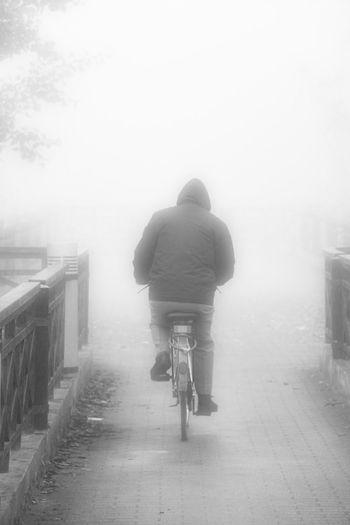 A bike in the fog