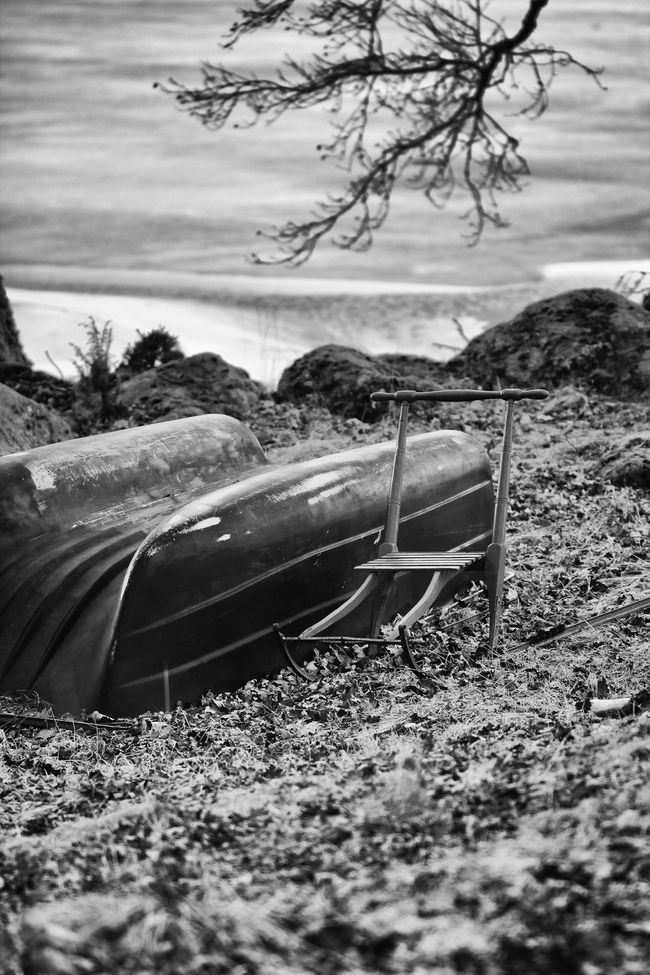 Abandoned Black And White Boat Calm Day Exceptional Photographs EyeEm Best Shots - Black + White Monochrome Photography Hello World Messy Nature Non-urban Scene Obsolete Old Outdoors Rural Scene Scenics Solitude Surface Level The Week Of Eyeem Tranquil Scene Tranquility Transportation Upside Down Worn Out