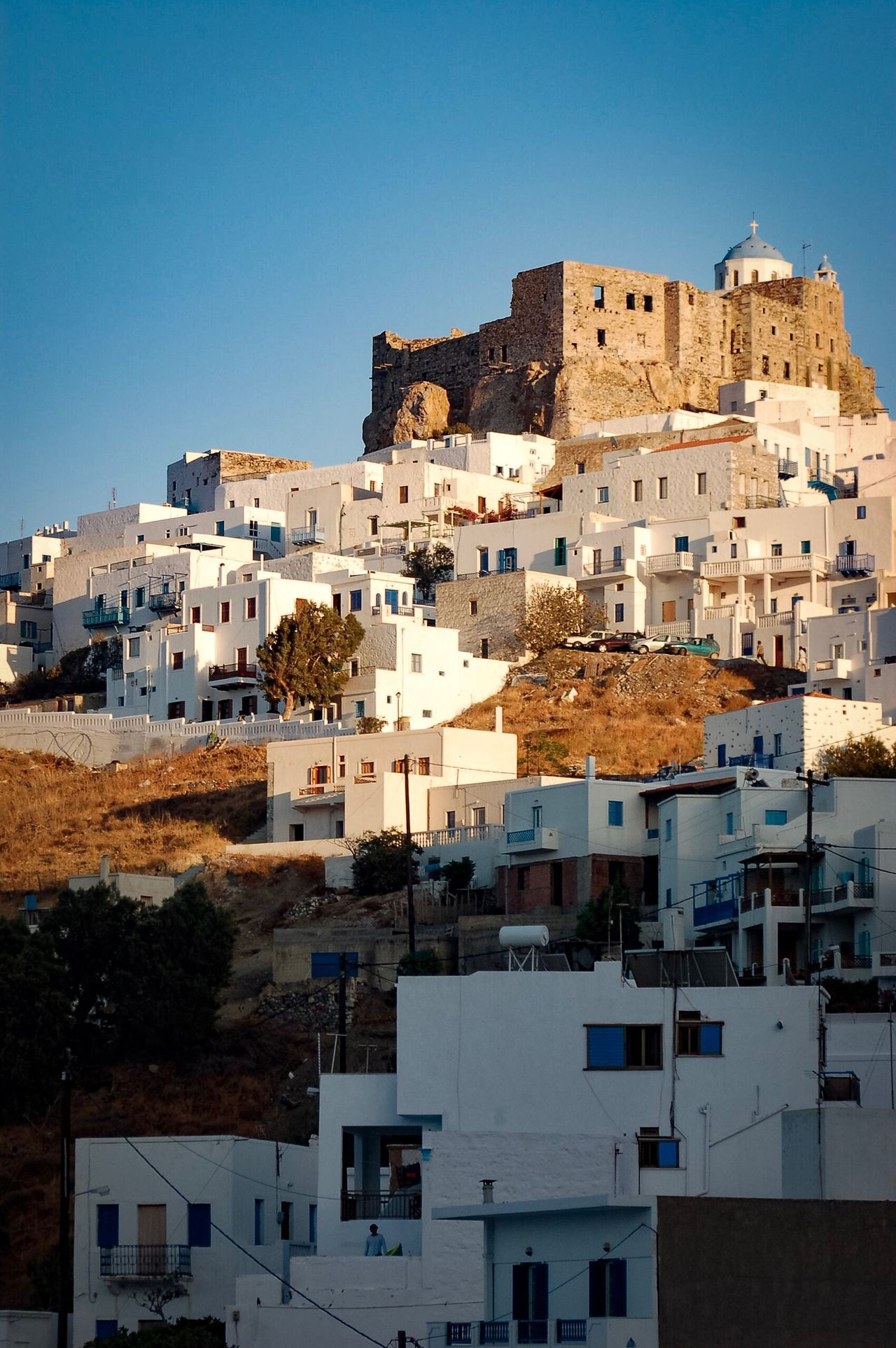 Astypalaia Aegean Island Greece Dodecanese Architecture Travel Clear Sky Chora Castle