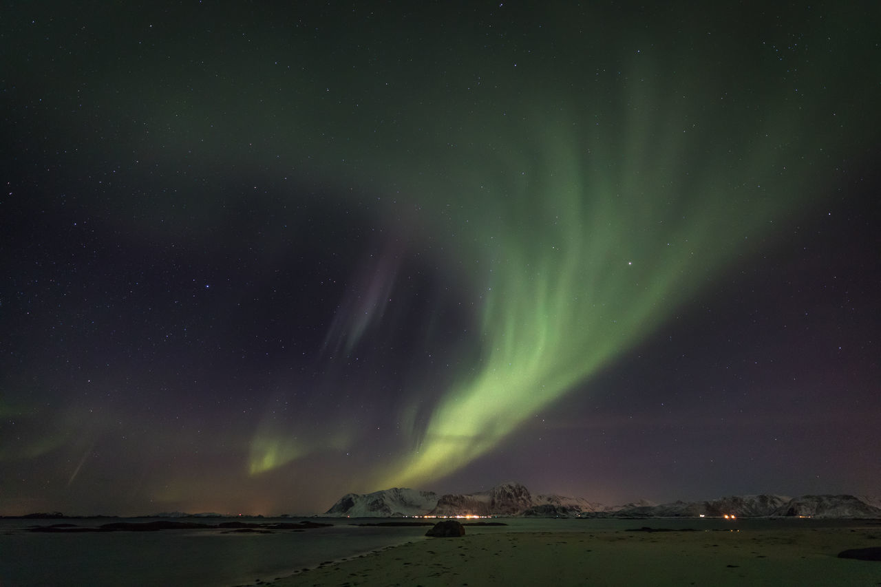 Astronomy Aurora Borealis Aurora Polaris Beach Beauty In Nature Cold Temperature Darkness And Light Illuminated Landscape Light Lofoten Luminosity Mountain Natural Phenomenon Nature Nature_collection Night Northern Lights Norway Polar Climate Sea Snow Star - Space Water Winter
