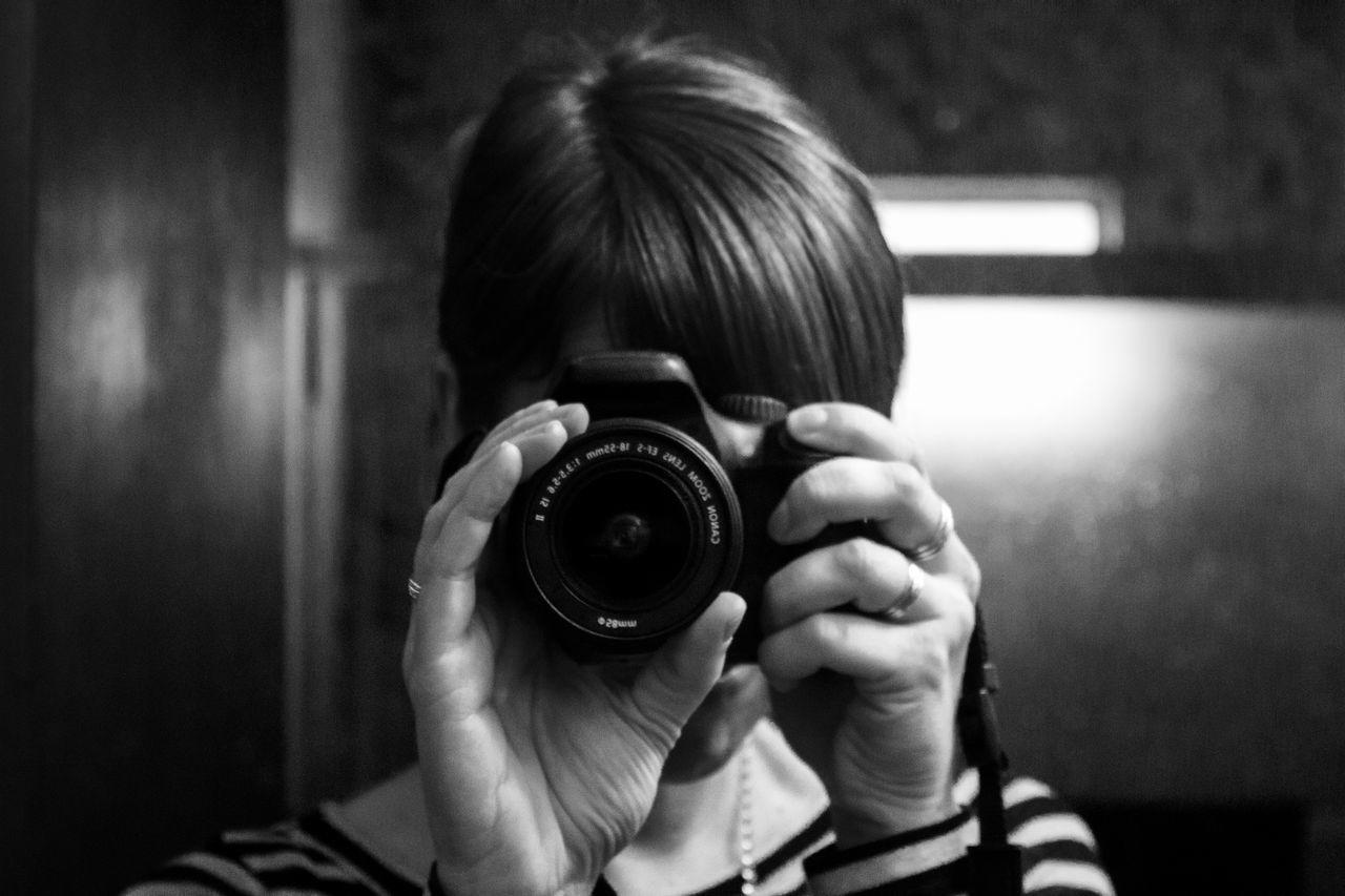 Black And White Camera Camera - Photographic Equipment Canon_camera Close-up Female Female Photographer Headshot Holding Camera Lady Looking At You Photographer Photographing Photography Themes Taking Photos Woman Woman Photographer Woman With Camera
