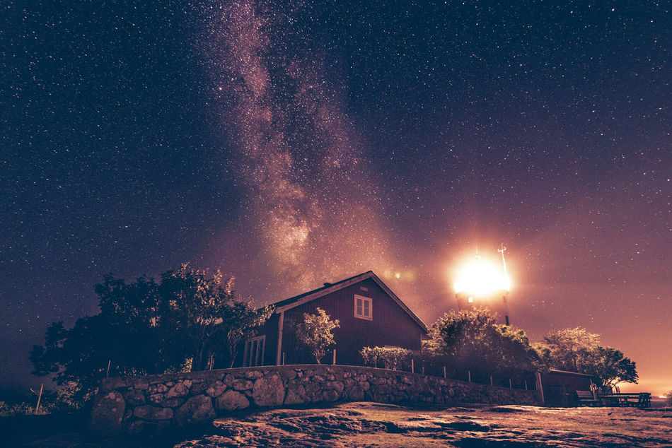 House of Light. Architecture Built Structure Building Exterior Night House Low Angle View Star - Space Scenics Tranquil Scene Sky Nature Dark Tranquility Star Field Milkywaygalaxy Milkyway Sweden Blekinge Astrophotography Hano