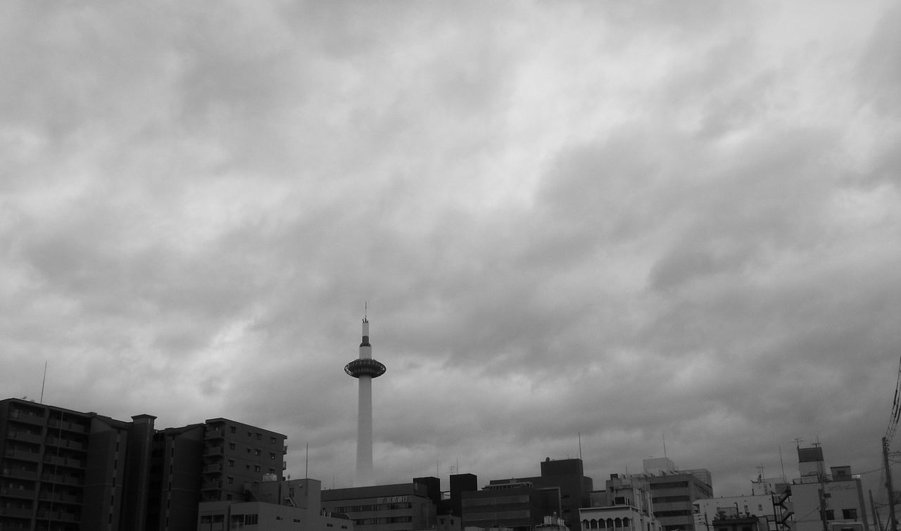 Architecture Built Structure Building Exterior City Cloud - Sky Travel Destinations Communication Travel Outdoors No People Sky Skyscraper Television Industry Day Modern Cityscape Urban Skyline Tower Kyoto Kyoto City Black And White Streetphotography Black & White Japan Photography Japan