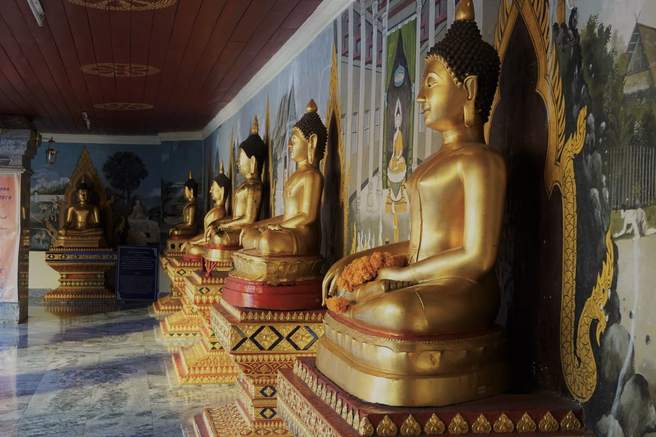 Buddha Buddhism Day Gold Indoors  No People Pattern Place Of Worship Religion Sculpture Spirituality Statue Temple Wall Painting Posture Silence Peace Worship Meditation