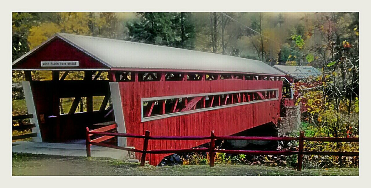 red, transportation, day, built structure, outdoors, no people, architecture, tree, locomotive, nature
