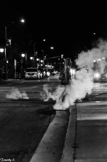 Attempt at street photigraphy Outdoors City People Night Streetphotography Nikon D7000 NikonLife Ontario, Canada Canada Coast To Coast London Ontario Canada Black And White Photography MonochromePhotography Steam