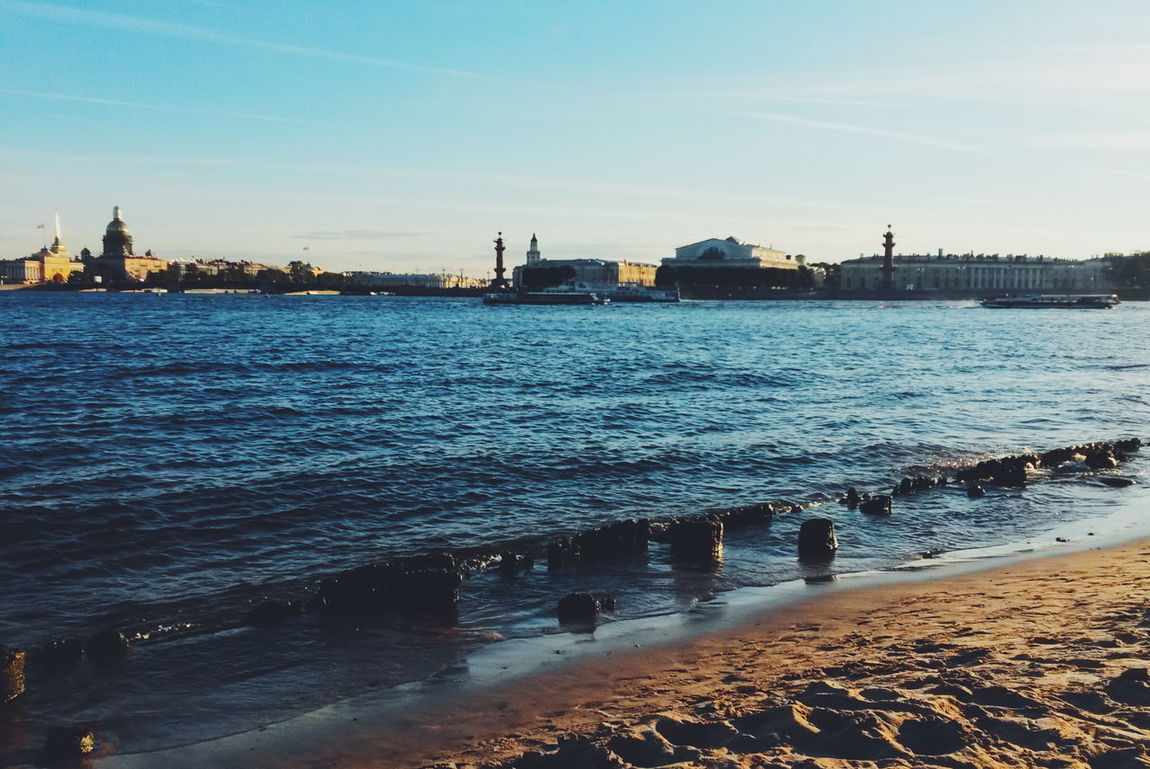 Neva River Sky Autumn Saint-Petersburg Rostral Columns Zayachy Island