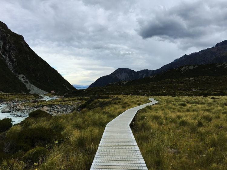 The Way Forward Mountain Cloud - Sky Tranquility Sky Beauty In Nature Outdoors Nature Scenics No People Landscape Day Mountains Mountain Range Mount Cook New Zealand