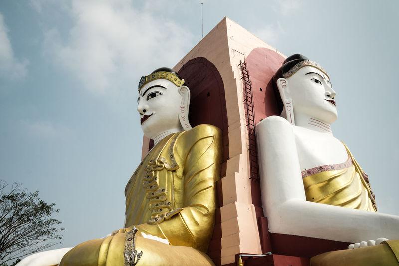 Kyaik Pun Pagoda Bago Buddha Statue Buddhism Burma Cloud And Sky Kyaik Pun Pagoda Myanmar Pagoda Religion Temple Travel