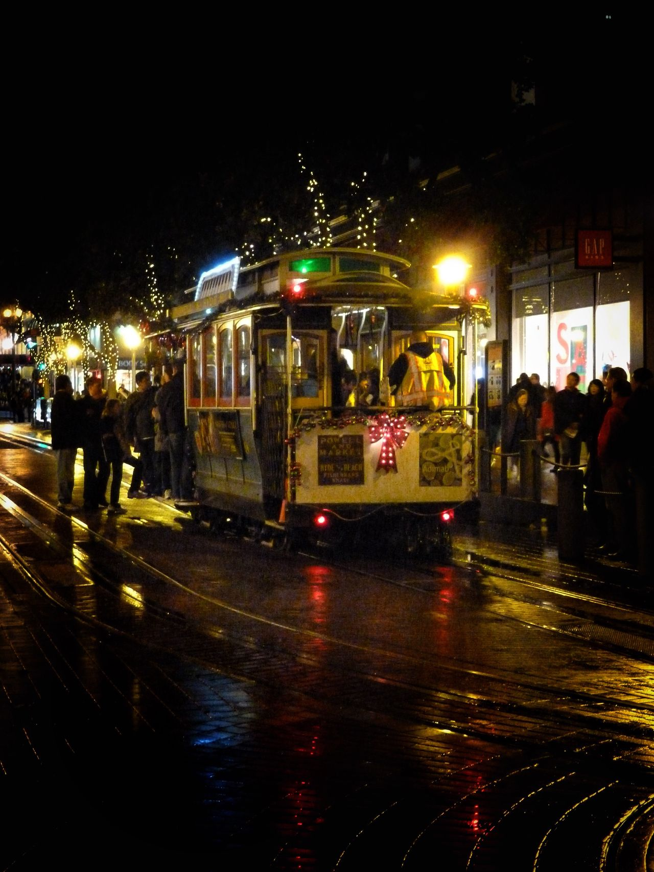 Night Street Illuminated Built Structure Architecture Building Exterior City Outdoors Cable Car San Francisco Rain Reflection Christmastime Christmas Lights Check This Out