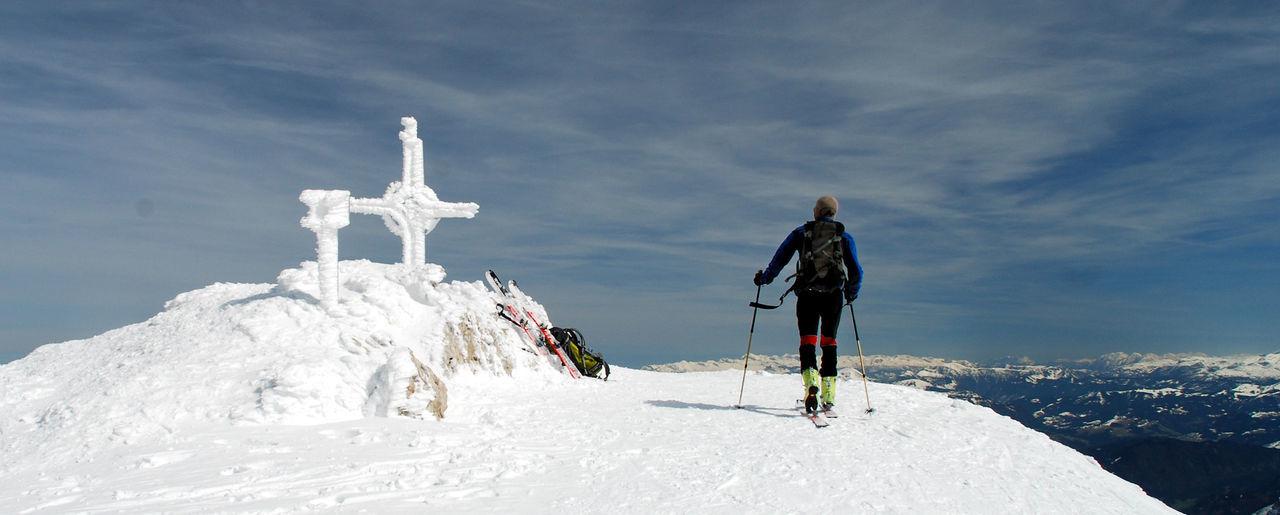 Adventure Cloud - Sky Cold Temperature Day Full Length Gipfelkreuz Hoher Göll Landscape Nature Outdoors Panorama Peak People Scenics Ski Holiday Ski Mountaineering Sky Snow Vacations Winter