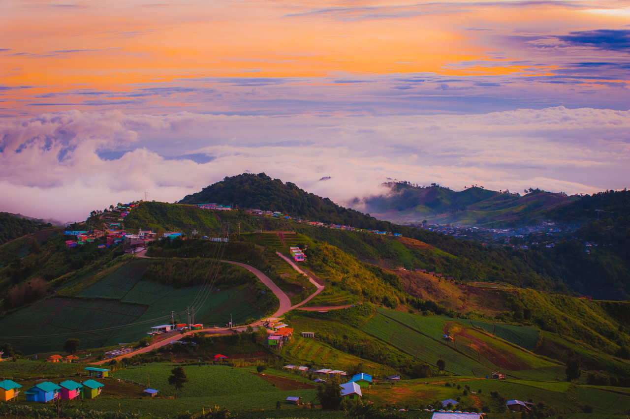 Foggy morning landscape in asia Beauty In Nature Cloud - Sky Day Fog Foggy Grass Landscape Mountain Mountain Range Mountain View Mountains National Park Nature No People Outdoors Scenics Sky Sunset Tranquil Scene Tranquility Tree
