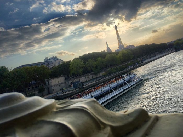 Sky Boat Water Cloud - Sky Nautical Vessel Tranquil Scene River Scenics Tranquility Mode Of Transport Outdoors Day Cloud Harbor Nature Bridge France Paris ❤ Transportation In A Row Sea Non-urban Scene Mountain